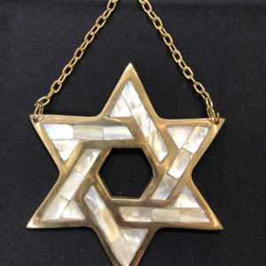 Brass and Mother-of-Pearl Star of David Wall Hanger